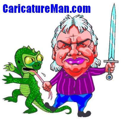 David Icke Caricature And Captured Reptilian