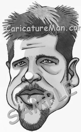 brad pitt caricature. Brad Pitt Caricature, Black And White Head